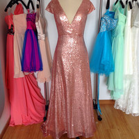 Rose Gold Sequin Bridesmaid Prom Dress,Long V-neck Evening Formal Dress Wedding Party Dresses 2015