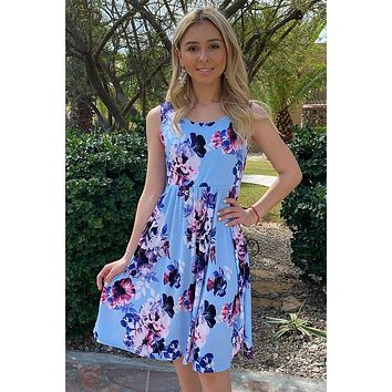 Make My Dreams Come True Blue Floral Print Midi Dress