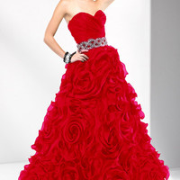 Valentine Red Ruched Organza Swirl Beaded Strapless Lace Up Prom Gown - Unique Vintage - Cocktail, Pinup, Holiday & Prom Dresses.