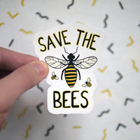 Save the Bees Sticker - Bees Decals for Laptops and Computers - Car Stickers - Save the Bees Campaign - Bee Colony - Honey Stickers - S96