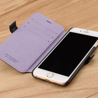 Black Genuine Leather Wallet Case for Apple iPhone 6 / 6s