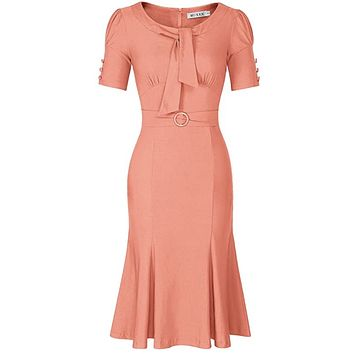 1950's Style Short Sleeve Mermaid Dress, Sizes Small - 2XLarge (Peach)