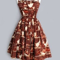 1950's Alfred Shaheen Hawaiian Print Shelf Bust Dress- M 1950'S VINTAGE HAWAIIAN DRESSES :