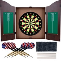 Dart Set with Dartboard & Mahogany Finish Cabinet