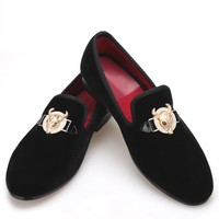 2017 New arrival Velvet men shoes with Tau buckle Smoking Slipper Loafers Men Flats mens dress shoes