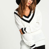 Ivory Sporty Waffle Knit Sweater - LoveCulture