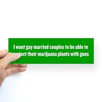 Gay Married Pot Plant Defense Bumper Bumper Sticker
