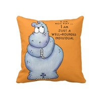 Well-Rounded Hippo-Blue Hippopotamus Pillow from Zazzle.com