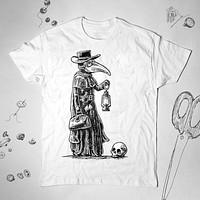 Plague Doctor Graphic Plague Skull Doctor Medicine History Unisex Tunic Shirt Top Blouse
