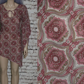 90s Bell Sleeve Mini Dress Sheer Chiffon Pink Grunge Hipster Goth Gothic Boho Witchy Witch Festival M Tunic Top Blouse Floral Asymmetrical