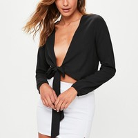 Missguided - Black Tie Front Crop Top