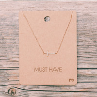 Cross My Heart Necklace - Rose Gold