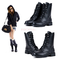 Women Girl Cool Black  Military Army PUNK Knight Lace-up Short Boots Shoes 7936 Women's shoes = 1745300420