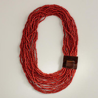 Chunky Red Necklace with Wood Clasp | World Market