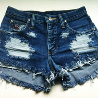 custom destroyed high wasted shorts size 1