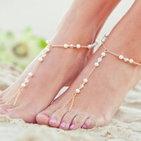 Pearl Crystal Water Drop foot Anklets Bracelet Bangle Summer Female Beach Jewelry
