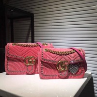 '' GUCCI '' Women Embroidery Chain Shoulder Bag Satchel