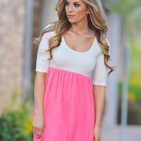Sunset in Paradise Baby Doll Dress - Neon Pink
