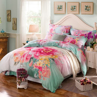 Activity Printing Beauty Flowers Ancient Style Gentle Dream 100% Cotton 4 Pcs King Queen Size Bed Comforter Set