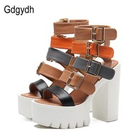 Womens Sandals High Heels Summer Fashion Buckle Gladiator Sandals