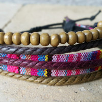 FREE SHIPPING-Men, Woman Bracelet, Multi Color and Strands. Handmade handknotted Hemp Style Country Jewelry, Unisex. 437
