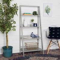 "Ladder 55"" Gray Wood Bookshelf"