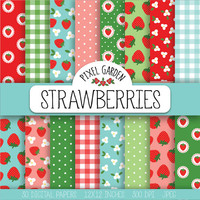 ON SALE. Strawberry Digital Paper. Cottage Chic Scrapbook Paper. Shabby Strawberry Pattern. Floral, Blossom, Summer Paper in Blue, Pink, Red