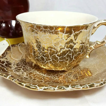Vintage Gold Crackled Teacup and Saucer/Gold Tea Cup and Saucer