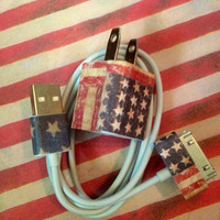 iphone 4/4s charger American flag USA