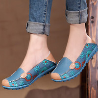 PU Leather Women Flats 2018 Casual Loafers Floral Walking Shoes Woman Moccasins Ladies Fashion Brand Women Casual Shoes DT913