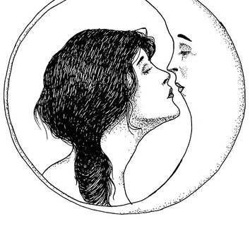 The Lady and the Moon Sticker