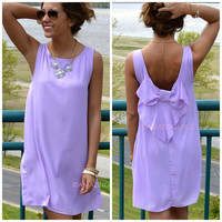 Claremont Lilac Bow Back Tank Dress
