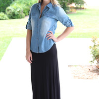 Only the Best Maxi Skirt- Black