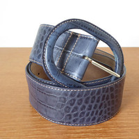 Wide blue alligator leather belt, size large