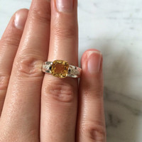 Vintage Cushion Cut Golden Citrine and Topaz Sterling Silver Ring Size 7