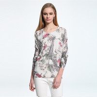 Knit Floral Printed Women Sports Hoodies Round Necked _ 10131