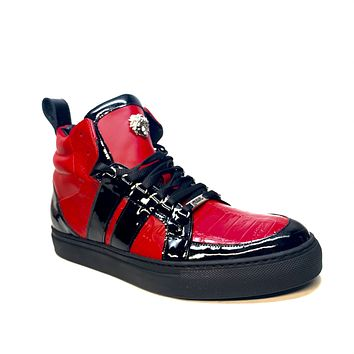 """Mauri """"8410"""" Red Black Alligator/Patent Leather High-Top Sneaker"""