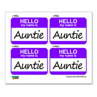 Auntie Hello My Name Is - Sheet of 4 Stickers