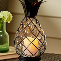 Glass Pineapple Hurricane Lantern Lamp LED w/Timer Coastal Tropical Home Decor