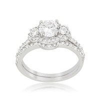 Fond Of Forever - Halo Clear CZ Plated Ring Set