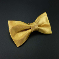 Gold satin bow tie – clip on gold bow tie – for men or women adult unisex size – glam wedding bowties groom or groomsmen