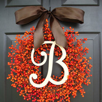 Orange Berry Fall Wreath, Fall Monogram Wreath, Thanksgiving Wreath, Fall Decor with WEATHERPROOF Berries