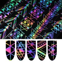 1 Roll Holographic Nail Foil Laser Geometric Triangle Heart Firework Wave Manicure Nail Art Transfer Sticker 4*100cm