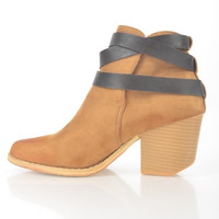 Tan Booties With Wrap Around Strap
