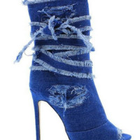 Liliana Distressed Denim Stiletto Bootie