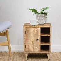 Transitional Mango Wood Side Table with Open Cubbies and Door Storage, Natural Brown By The Urban Port