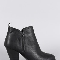 Qupid Almond Toe Heeled Cowgirl Ankle Boots