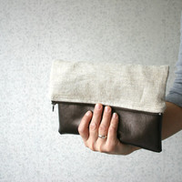 Linen and Leather Foldover Clutch Purse Gold Metallic Bronze
