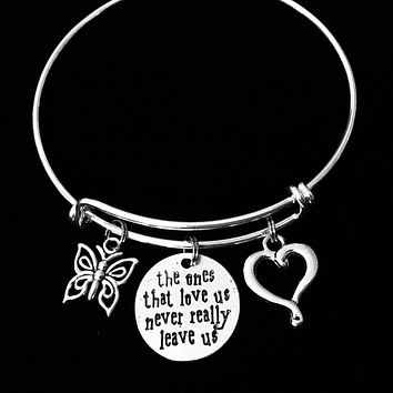 Memorial Adjustable Bracelet The Ones That Love Us Never Leave Expandable Charm Wire Bangle Silver Gift Butterfly Open Heart