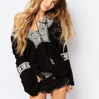 Free People Santa Maria Embroidered Sweater in Black
